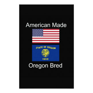 """""""American Born..Oregon Bred"""" Flags and Patriotism Customized Stationery"""