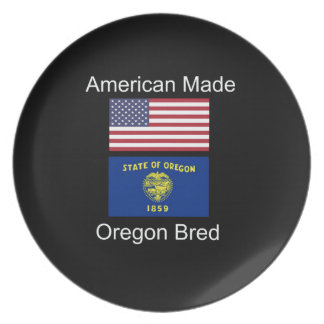 """""""American Born..Oregon Bred"""" Flags and Patriotism Plate"""