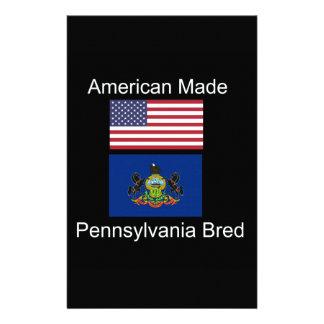 """American Born..Pennsylvania Bred"" Flag Design Custom Stationery"