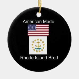 """""""American Born..Rhode Island Bred"""" Flag Design Ceramic Ornament"""
