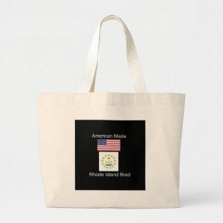 """American Born..Rhode Island Bred"" Flag Design Large Tote Bag"