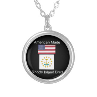 """""""American Born..Rhode Island Bred"""" Flag Design Silver Plated Necklace"""