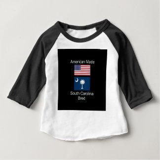 """American Born..South Carolina Bred"" Flag Design Baby T-Shirt"