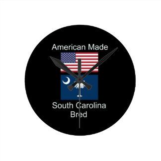"""American Born..South Carolina Bred"" Flag Design Clock"