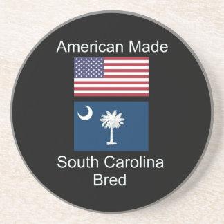 """American Born..South Carolina Bred"" Flag Design Coaster"