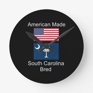 """American Born..South Carolina Bred"" Flag Design Round Clock"