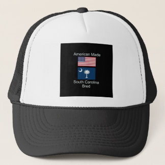 """American Born..South Carolina Bred"" Flag Design Trucker Hat"