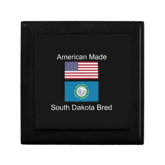 """American Born..South Dakota Bred"" Flag Design Gift Box"