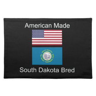 """American Born..South Dakota Bred"" Flag Design Place Mats"