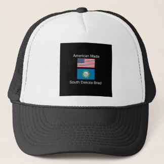 """American Born..South Dakota Bred"" Flag Design Trucker Hat"