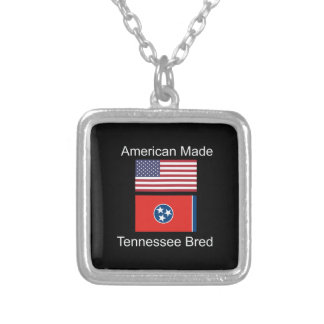 """American Born..Tennessee Bred"" Flag Design Silver Plated Necklace"