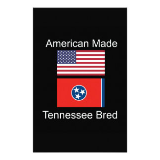 """""""American Born..Tennessee Bred"""" Flag Design Stationery"""