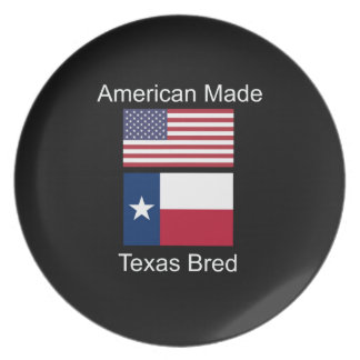 """American Born..Texas Bred"" Flags and Patriotism Dinner Plates"