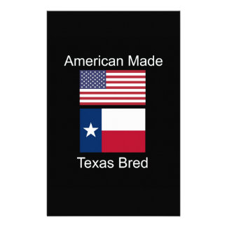 """""""American Born..Texas Bred"""" Flags and Patriotism Personalized Stationery"""