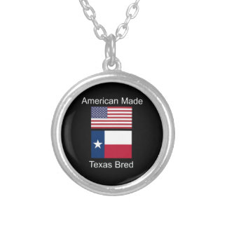 """""""American Born..Texas Bred"""" Flags and Patriotism Silver Plated Necklace"""