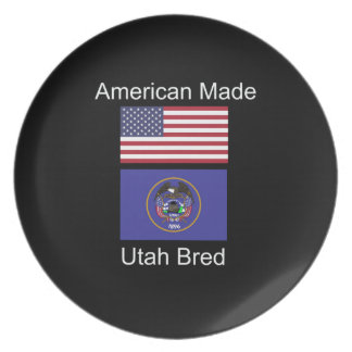 """American Born..Utah Bred"" Flags and Patriotism Plates"