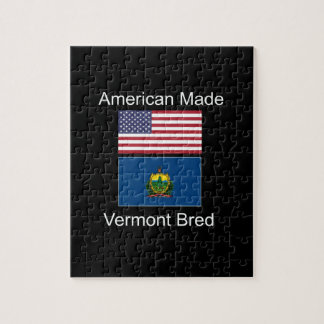 """""""American Born..Vermont Bred"""" Flags and Patriotism Jigsaw Puzzle"""