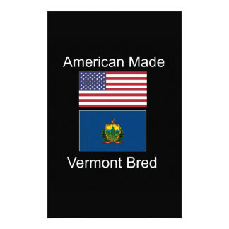 """""""American Born..Vermont Bred"""" Flags and Patriotism Personalised Stationery"""