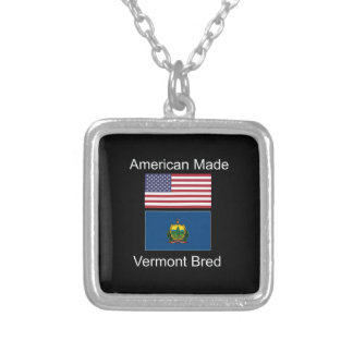 """""""American Born..Vermont Bred"""" Flags and Patriotism Silver Plated Necklace"""