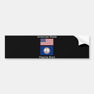 """""""American Born..Virginia Bred"""" Flag Design Bumper Sticker"""