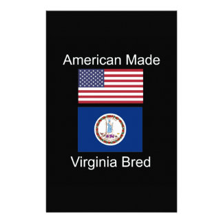"""""""American Born..Virginia Bred"""" Flag Design Personalized Stationery"""