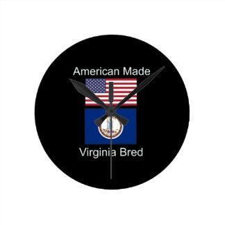 """""""American Born..Virginia Bred"""" Flag Design Round Clock"""