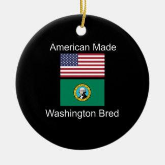 """""""American Born..Washington Bred"""" Flag Design Ceramic Ornament"""
