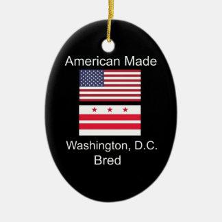 """American Born..Washington, D.C. Bred"" Flag Design Ceramic Ornament"
