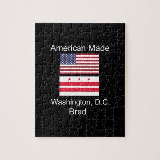 """American Born..Washington, D.C. Bred"" Flag Design Jigsaw Puzzle"