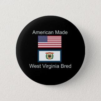 """""""American Born..West Virginia Bred"""" Flag Design 6 Cm Round Badge"""