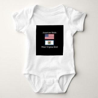 """American Born..West Virginia Bred"" Flag Design Baby Bodysuit"