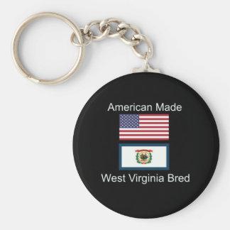 """American Born..West Virginia Bred"" Flag Design Basic Round Button Key Ring"