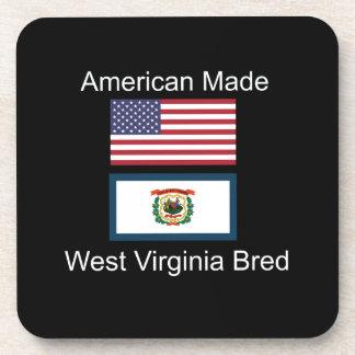 """American Born..West Virginia Bred"" Flag Design Coaster"