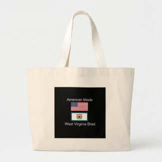 """American Born..West Virginia Bred"" Flag Design Large Tote Bag"