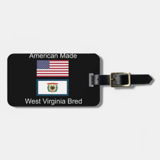 """American Born..West Virginia Bred"" Flag Design Luggage Tag"