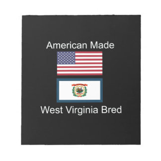 """American Born..West Virginia Bred"" Flag Design Notepad"