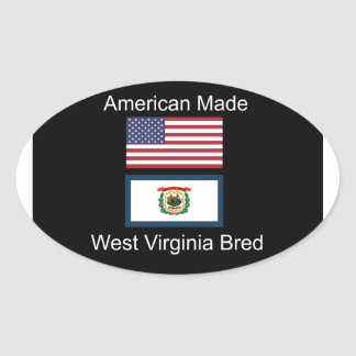 """American Born..West Virginia Bred"" Flag Design Oval Sticker"