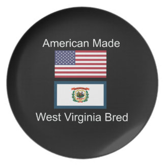"""American Born..West Virginia Bred"" Flag Design Plate"