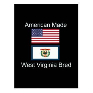 """American Born..West Virginia Bred"" Flag Design Postcard"