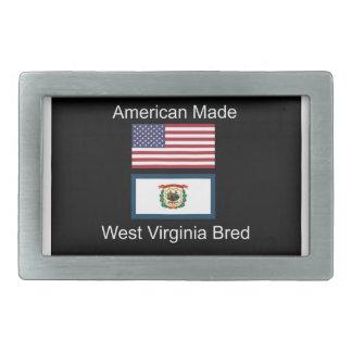 """American Born..West Virginia Bred"" Flag Design Rectangular Belt Buckle"