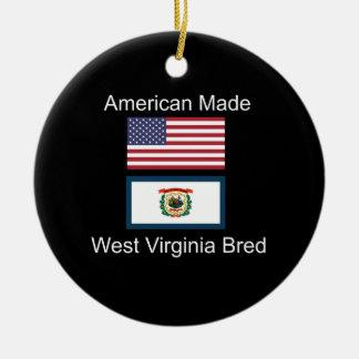 """""""American Born..West Virginia Bred"""" Flag Design Round Ceramic Decoration"""