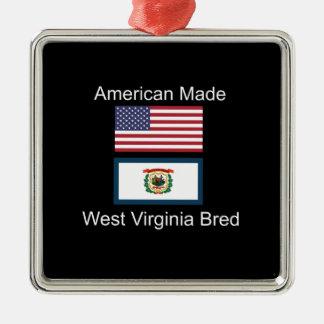 """American Born..West Virginia Bred"" Flag Design Silver-Colored Square Decoration"