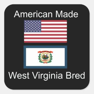 """American Born..West Virginia Bred"" Flag Design Square Sticker"