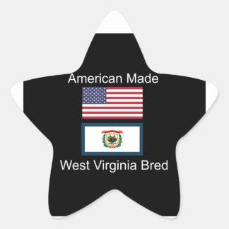 """American Born..West Virginia Bred"" Flag Design Star Sticker"