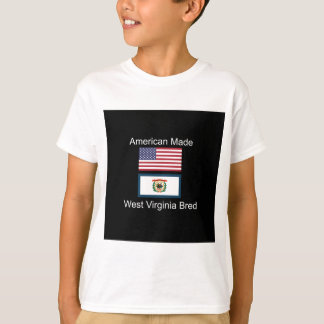 """American Born..West Virginia Bred"" Flag Design T-Shirt"