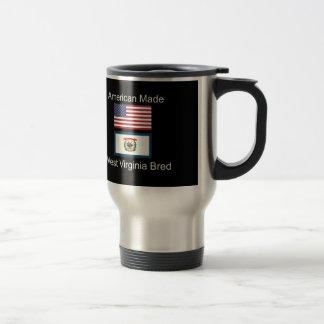 """American Born..West Virginia Bred"" Flag Design Travel Mug"