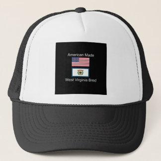 """American Born..West Virginia Bred"" Flag Design Trucker Hat"