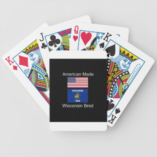 """""""American Born..Wisconsin Bred"""" Flag Design Bicycle Playing Cards"""