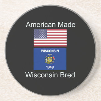 """American Born..Wisconsin Bred"" Flag Design Coaster"