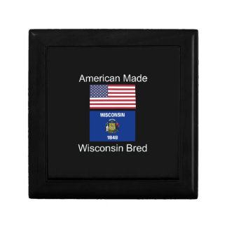 """American Born..Wisconsin Bred"" Flag Design Gift Box"